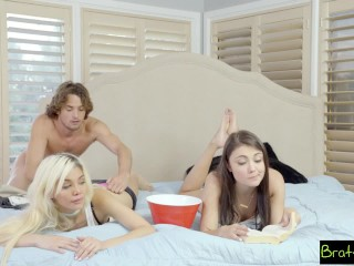 BrattySis - Tricked randy Sis coupled with stripling Friend earn Threeway