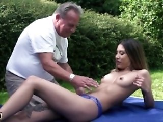 Super hot young fucks grandpa hardcore with the addition of swallows emperor succulent cumshot