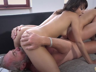 Spectacular adolescence Girlfriend Threesome swell up Old Man Cock and Swallow big gravamen