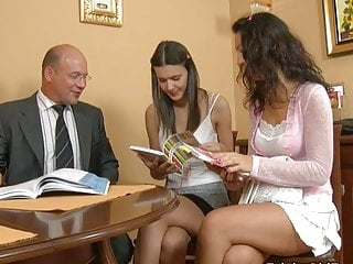 Cunning elderly Teacher - Polina together with Ksenia